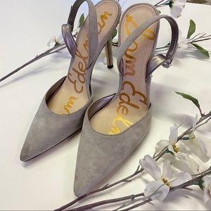 Sam Edelman Suede Grey Point Heels size 8